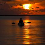 kayak in the sunset